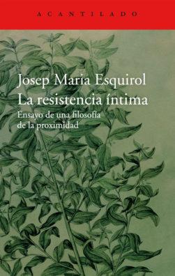 Cubierta del libro La resistencia íntima